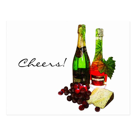Champagne, grapes and cheese art postcard