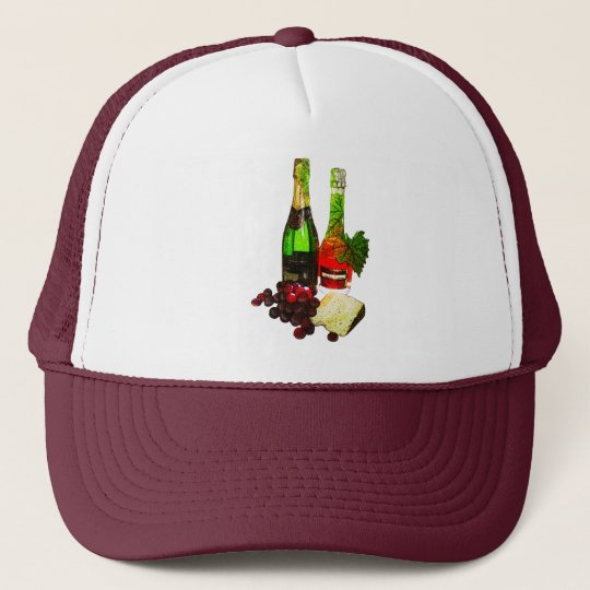 Champagne, grapes and cheese art trucker hat