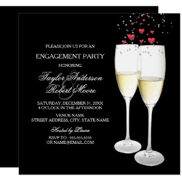 Valentines Themed Champagne & Heart Engagement Party Invitation