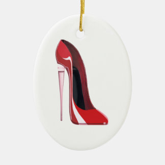 Champagne heel red stiletto shoe art ceramic ornament