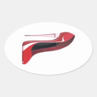 Champagne Heel Red Stiletto Shoe Art Oval Sticker