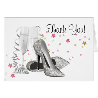 Champagne High Heel Shoes Thank You Cards