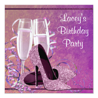Champagne High Heel Womans Hot Pink Birthday Party Card