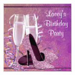 Champagne High Heel Womans Hot Pink Birthday Party 5.25x5.25 Square Paper Invitation Card