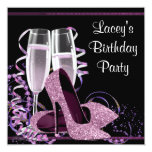Champagne High Heel Womans Hot Pink Birthday Party Invitations