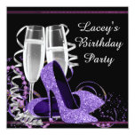 Champagne High Heel Womans Purple Birthday Party 5.25x5.25 Square Paper Invitation Card