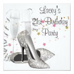 Champagne High Heels 21st Birthday Party Custom Announcements