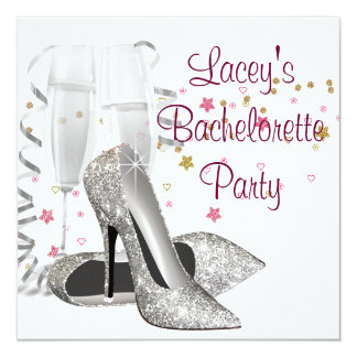 """Champagne High Heels Bachelorette Party 5.25"""" Square Invitation Card"""