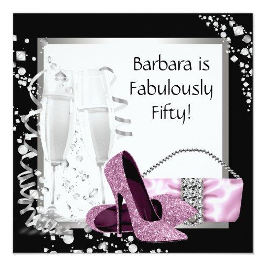 Champagne High Heels Womans Pink & Black Birthday Card