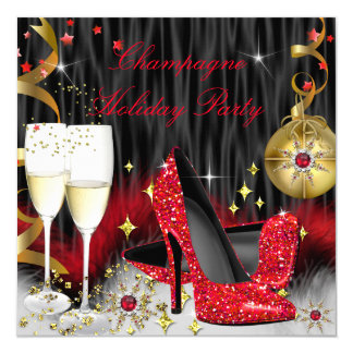 Champagne Holiday Party Red High Heels Card