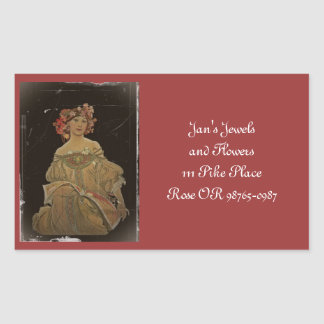 Champagne Lady with a Book Rectangular Sticker