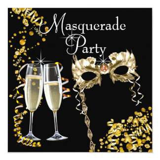 Champagne Mask Black Gold Masquerade Party Card