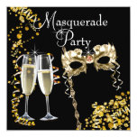 Champagne Mask Black Gold Masquerade Party Custom Announcements