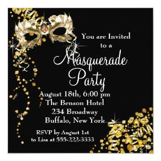 Champagne Mask Black Gold Masquerade Party 5.25x5.25 Square Paper Invitation Card