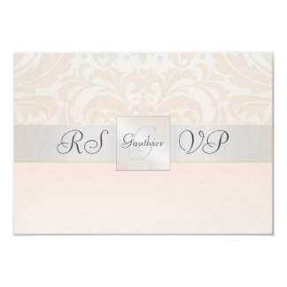 Champagne Monogram Damask RSVP Reply Invitation