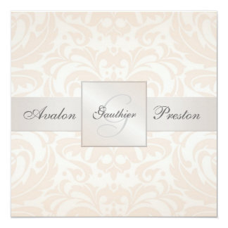 Champagne Monogram Damask Wedding Invitation