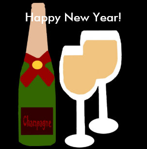 champagne n glass happy new year stickers