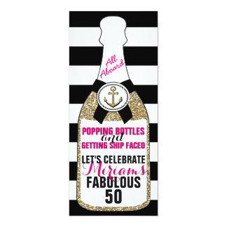 Champagne Nautical Glitter Birthday Invitation Fab