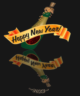 champagne new year banner reflection gold t shirt