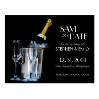 Champagne New Years Eve Formal Save the Date Postcard