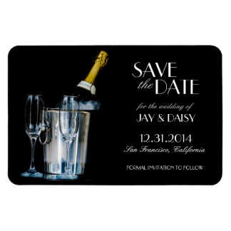 Champagne New Years Eve Formal Save the Date Rectangular Photo Magnet