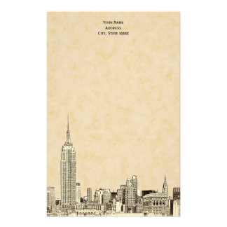 Champagne NYC Skyline Etched 01 Stationery