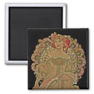 Champagne on Black 2 Inch Square Magnet
