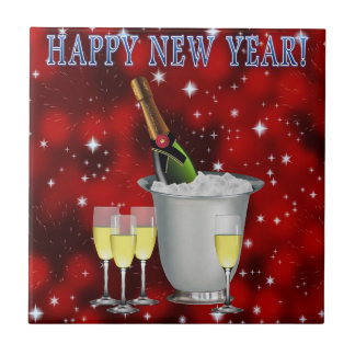 CHAMPAGNE ON ICE: HAPPY NEW YEAR! SMALL SQUARE TILE