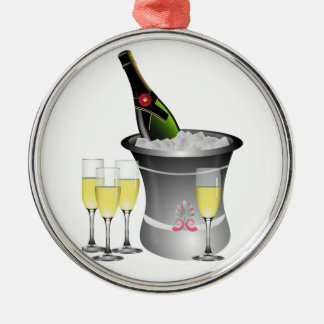 Champagne On Ice Metal Ornament