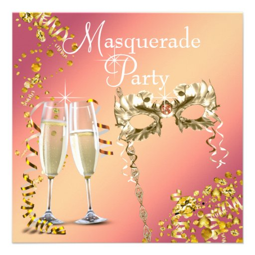 Champagne Orange Gold Halloween Masquerade Party Custom Announcement