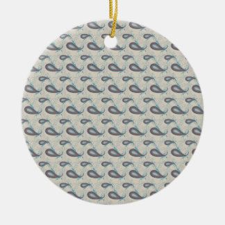 Champagne Paisley Pattern Ceramic Ornament