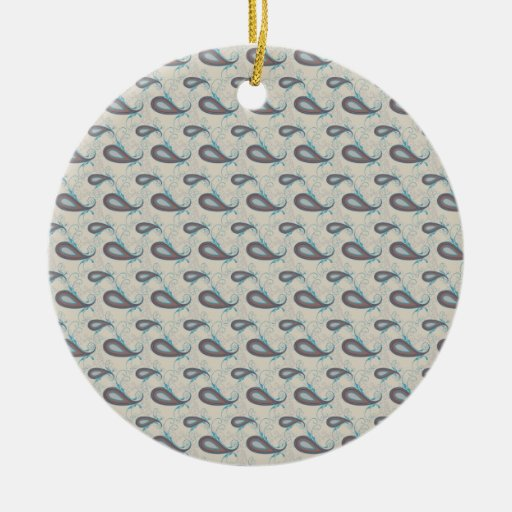 Champagne Paisley Pattern Christmas Ornaments