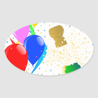 Champagne Party 2017 Oval Sticker