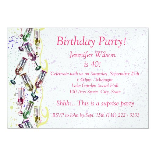 Champagne Party/ Birthday 5x7 Paper Invitation Card