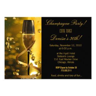 Champagne Party birthday invitation
