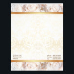 """Champagne Pink Rose Elegance Letterhead<br><div class=""""desc"""">Beautiful stationery features a lovely profusion of soft pastel Roses in  champagne pink,  with elegant gold edged ivory damask pattern.. Customize text areas.</div>"""