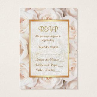 Champagne Pink Rose Floral Wedding RSVP Business Card