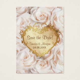 Champagne Pink Rose Floral Wedding Save the Date Business Card