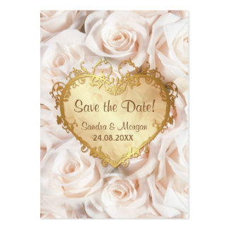 Champagne Pink Rose Floral Wedding Save the Date Large Business Card