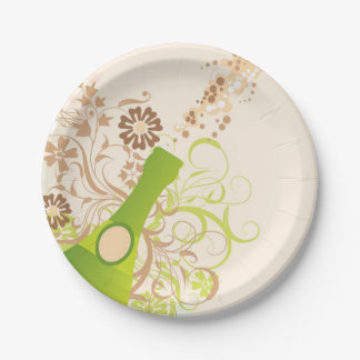 Champagne, Popping Cork, Flourishes 7 Inch Paper Plate
