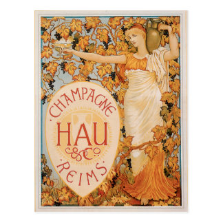 Champagne Reims Vintage Wine Drink Ad Art Postcard