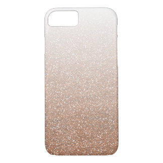 Champagne Rose Gold Faux Glitter Ombre iPhone 7 Case
