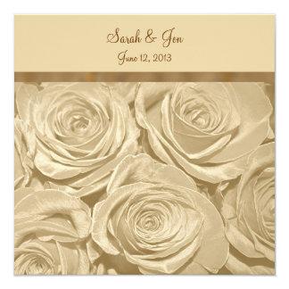 "Champagne Roses Formal Wedding Invitation 5.25"" Square Invitation Card"