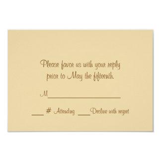 "Champagne Roses Formal Wedding RSVP Card 3.5"" X 5"" Invitation Card"