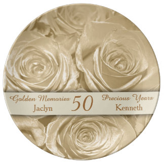 Champagne Roses Memories Golden Anniversary Porcelain Plate