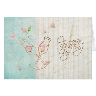 Champagne+Roses Vintage+Blue On Your Wedding Day Card
