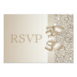 Champagne Sequins, Bow & Diamond RSVP Card