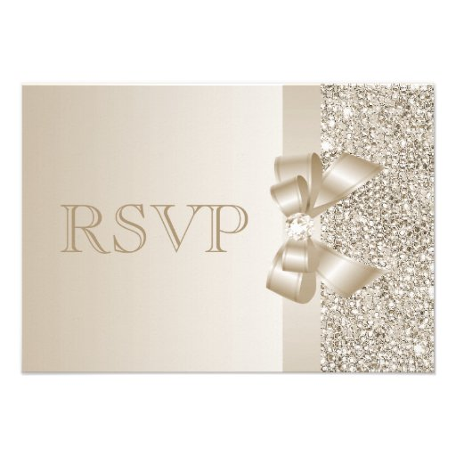 Champagne Sequins, Bow & Diamond RSVP Personalized Invitation