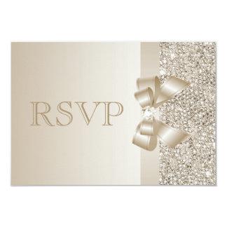 Champagne Sequins, Bow & Diamond RSVP 3.5x5 Paper Invitation Card