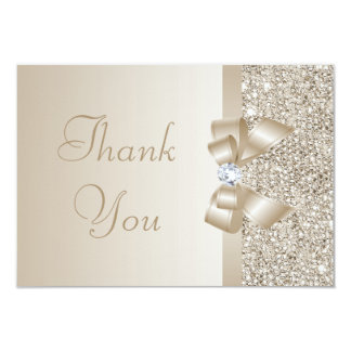 Champagne Sequins, Bow & Diamond Thank You 3.5x5 Paper Invitation Card